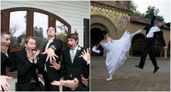 18 parejas que el día de su boda olvidaron los sentimentalismos y prefirieron fotos llenas de humor