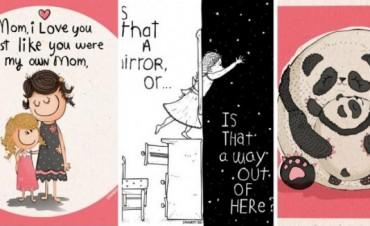 Sus ilustraciones están inspiradas en los dichos de su hija de 5 años, ¡el resultado es muy bueno!