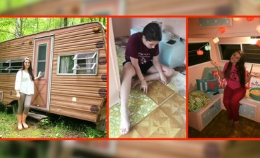 Esta adolescente compró esta casa rodante por 200 dólares y la transformó llenándola de glamour