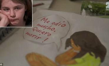 """""""Me odio mucho, quiero morir"""": los tristes dibujos de una niña que intentó suicidarse por bullying"""