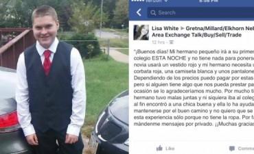 Su inseguro y desmotivado hermano no tenía ropa para el baile de la escuela. Facebook los ayudó
